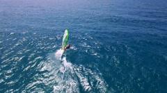 Aerial footage - Wind surfing in the Mediterranean sea Stock Footage