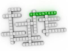 3d image Volunteer word cloud concept Stock Illustration
