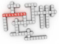 3d image Wellness word cloud concept Stock Illustration