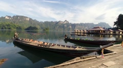 View Over a Small Tourist Town on the Water and a Dock With Boats, Thailand Stock Footage