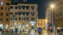 Moor Fountain in Navona Square in a summer night timelapse in Rome, Italy Stock Footage