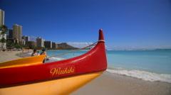 Establishing shot of Waikiki Beach in Honolulu, Hawaii Stock Footage