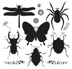 Vector Collection of Black Hand Drawn Insect Shapes Stock Illustration