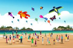 People Flying Kites at the Kite Festival - stock illustration