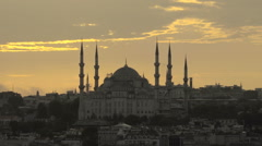 Aerial shot of the Blue Mosque at sunset in Istanbul, Turkey Stock Footage