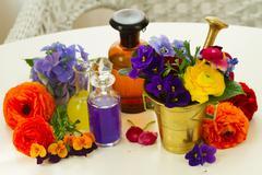 Aromatherapy - flowers in mortar Stock Photos