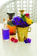 aromatherapy - flowers in mortar - stock photo