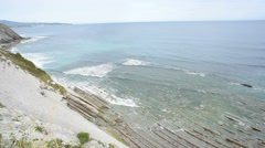 View of the atlantic ocean from cliff Stock Footage
