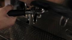 Barista prepares two cups of espresso. Close up Stock Footage