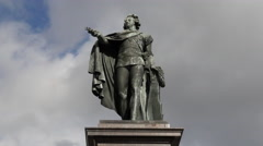 Zoom Out - Time Lapse of Statue of Konung Gustaf III Stock Footage