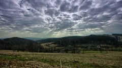 Meadow in eastern Europe, clouds moving in the sky. - stock footage