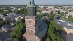 Turku cathedral, orbiting aerial footage 4K Stock Footage