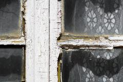 Close up view of an old exterior window frame - stock photo