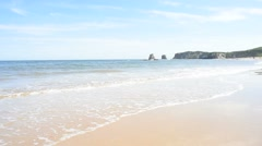 View of Hendaye beach and the twin rocks Stock Footage