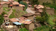 Andean village in Peru with adobe houses Stock Footage