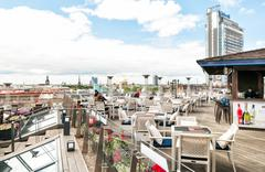 Terrace Riga, is trendy and unique place on the roof floor. Stock Photos