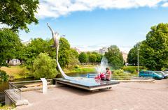 Monument to the famous Latvian ballet dancer Maris Rudolfs Liepa. - stock photo