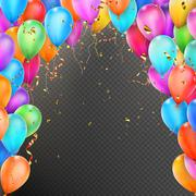 Balloons, confetti and red gold ribbons. EPS 10 Piirros