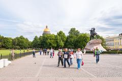 Senate Square with Monument to Emperor Peter I Stock Photos