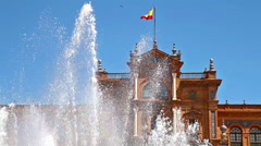 Seville building and fountain Stock Footage