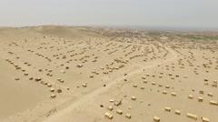 AERIAL: Slums (Village) in a desert in Peru Stock Footage