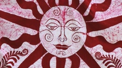 Exterior detail of the drying batik textile at the factory in Kandy, Sri Lanka. Stock Footage