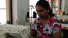 Woman works at the sewing workshop in Kandy, Sri Lanka. Stock Footage