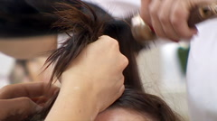 Making Female Hair Styling With Blow-Dryer Stock Footage