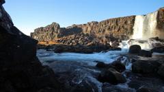 Iceland Waterfall at ÞINGVELLIR National Park Stock Footage