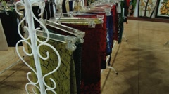 View to the traditional batik textile at a shop in Kandy, Sri Lanka. Stock Footage