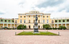 Monument to Emperor Paul I on the square of Pavlovsk Palace - stock photo