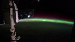 Planet Earth and Aurora Borealis seen from the the International Space Station - stock footage