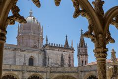 Architecture details of the Monastery or Hieronymites Stock Photos