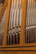 Church organ in of the Monastery or Hieronymites Stock Photos