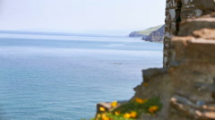 View of Sea through Medieval Ruins, Aberystwyth Castle, Wales Stock Footage