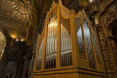 Church organ in of the Monastery or Hieronymites - stock photo