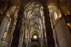 interier details of the Monastery or Hieronymites - stock photo