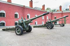 Old artillery cannons in the courtyard of the Peter and Paul Fortress. - stock photo