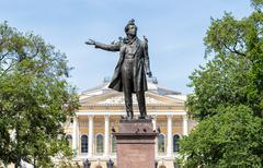 Monument to Alexander Pushkin in front of the Russian Museum Stock Photos