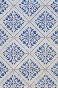 traditional azulejos tiles on facade - stock photo