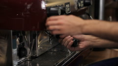 Barista prepares two cups of espresso. Medium shot Stock Footage