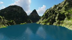 Beautiful Mountain Lake between mountains Stock Footage