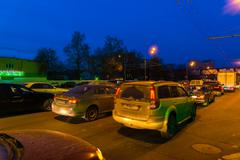 MOSCOW, RUSSIA -May 02.2016. Traffic jam on highway at night Enthusiasts Stock Photos