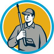Power Washer Pressure Washing Gun Circle Retro - stock illustration