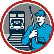 Pressure Washer Train Rail Circle Retro - stock illustration