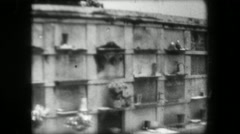1967: Multi unit cemetary grave site above ground tombs creepy structure. Stock Footage