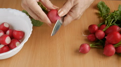 Sliced radish in the kitchen. - stock footage