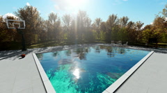 Home garden with beautifull Swimming pool - stock footage