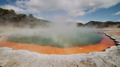 Champagne pool in Wai O Tapu in Rotorua, New Zealand Stock Footage
