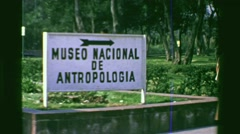 1978: Museo Nacional de Antropologia monument park grounds signage. MEXICO CITY, - stock footage